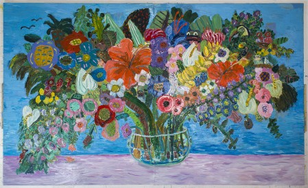Georgina Gratrix All the Birthdays Bouquet, 2016. Oil on Board. 244 x 400 cm