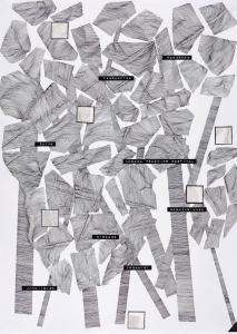 Nolan Oswald Dennis <i>Dark Places I</i> (2015). Ink and collage on paper, 42 x 29 cm