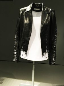 A wearable drawing: leather jacket