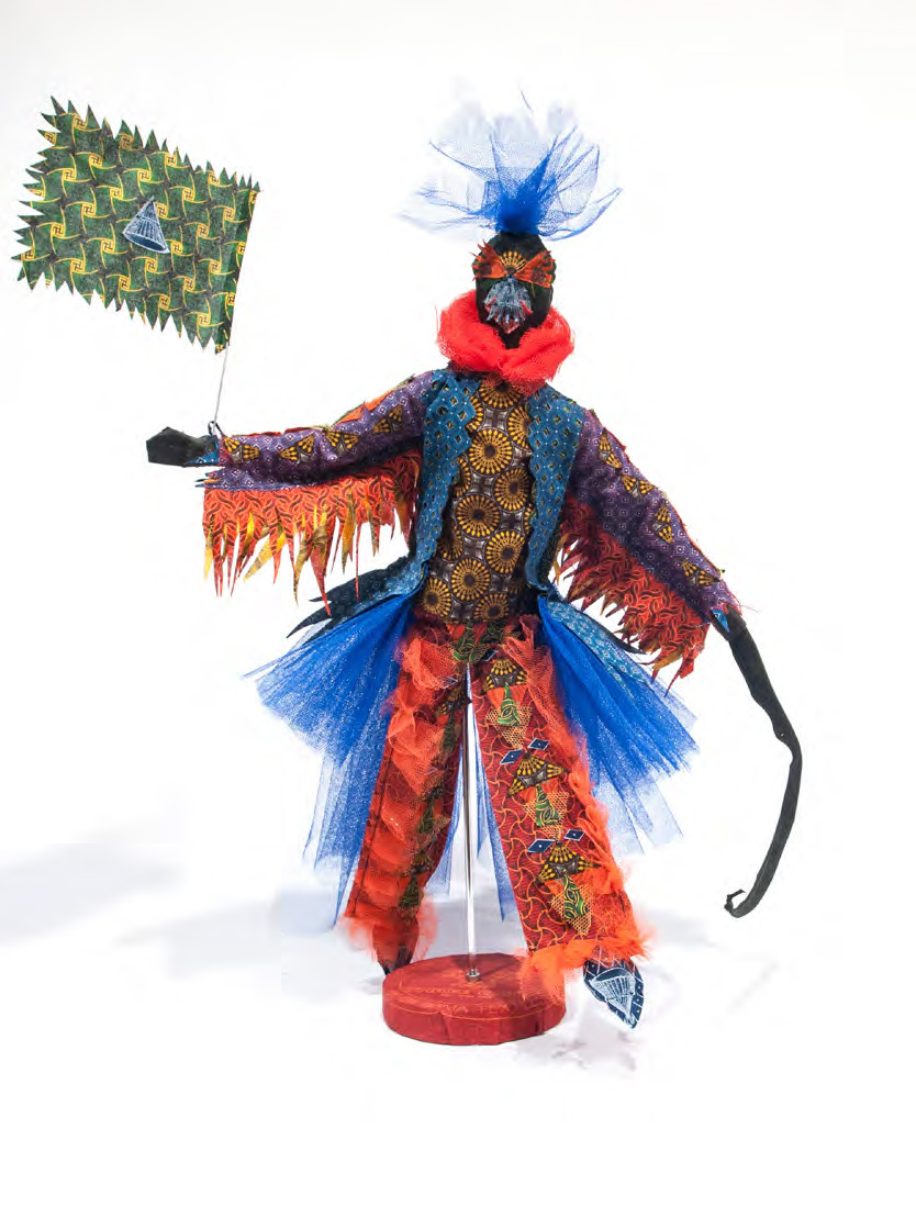 Siwa Mgoboza, <i>Live and Let Live: Libertina Leading the Beings</i>, 2016. Isishweshwe (Three Cats Cotton), mannequin, tulle, cotton thread, plastic dolls and pine, 64 x 46 x 40 cm