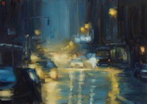 Sasha Hartslief <i>City Lights</i> (2016). Oil on canvas, 85 x 120 cm