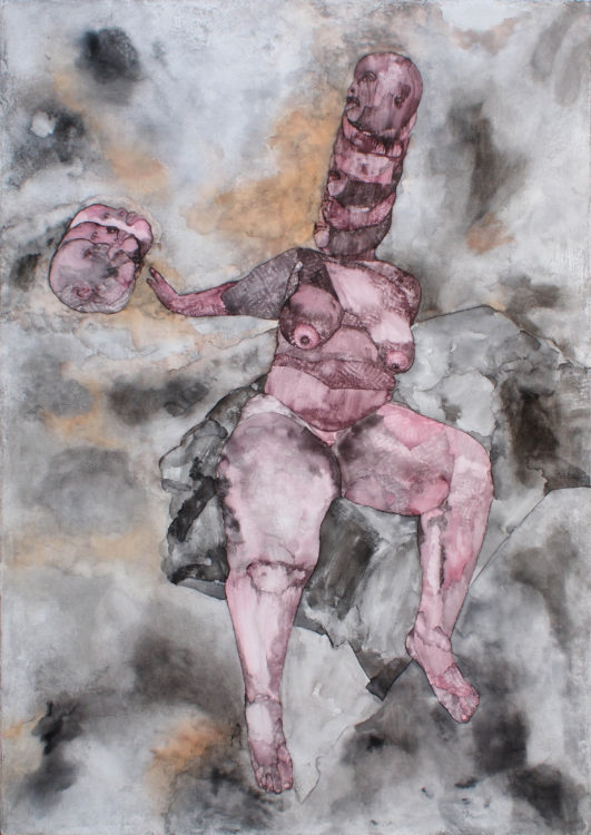 Florine Demosthene, Move In Love, 2016. Ink, Charcoal, Oil bar on Canvas. 106.5 x 76 cm