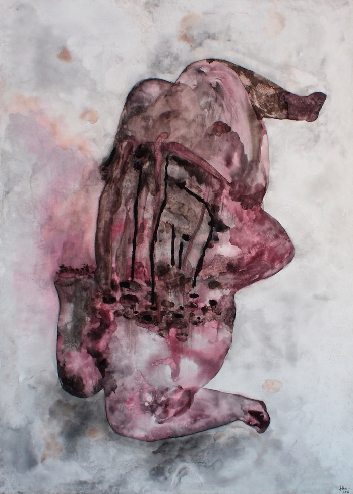 Florine Demosthene, Wounds, 2016. Ink, charcoal, glitter and oil stick on canvas, 76cm x 106cm