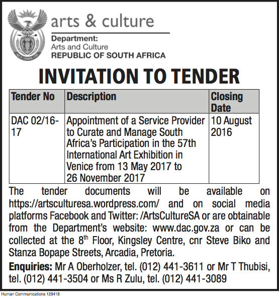 Invitation to Tender: Venice 2017