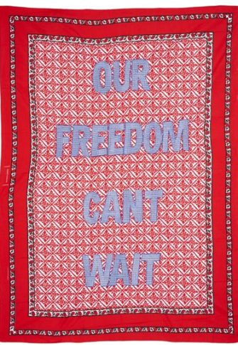 Lawrence Lemoana, Our Freedom Can't Wait. Fabric and embroidery