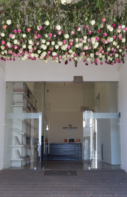 Jody Brand, #SayHerName, 2016. Roses and wire-mesh,dimensions variable.