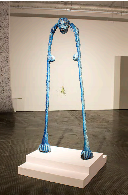Marlene Steyn, How to be a Door , 2016. Painted Bronze and Air Plant, 200x88x20cm