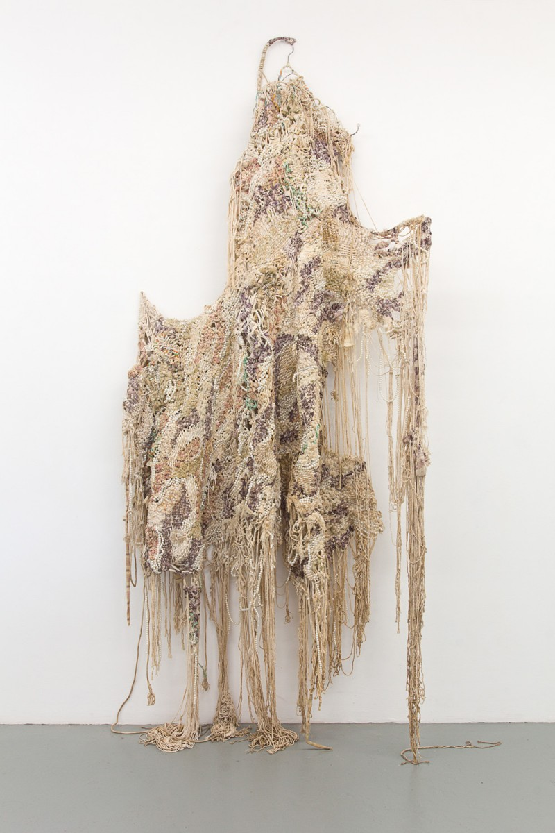 Igshaan Adams, Ouma, 2016. Woven nylon rope, string, beads, fabric and wire scarf hangers; approx. 250 x 110 x 35 cm