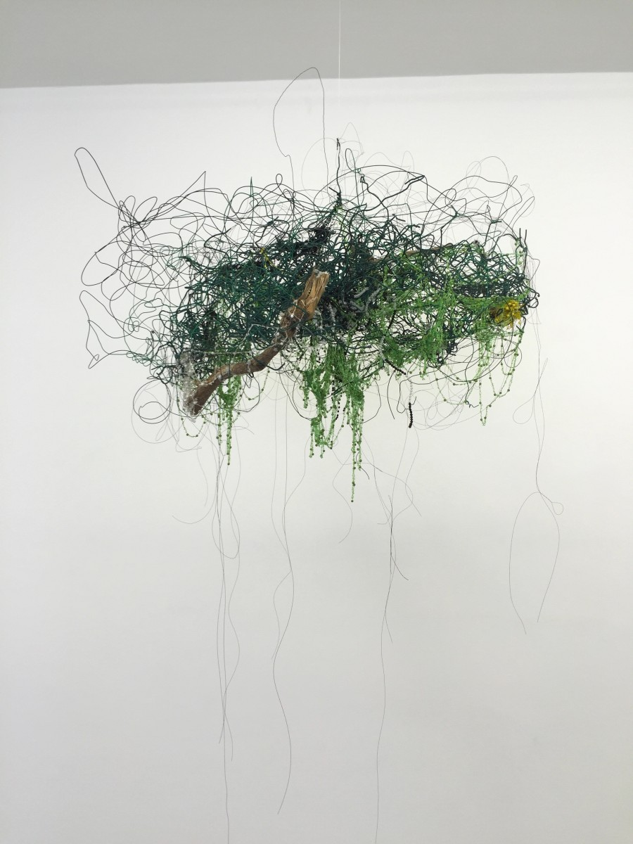 Igshaan Adams, Ontgroei, 2016. Found wire fence, wood, string-beaded necklaces and wire; approx. 110 x 90 x 43 cm.