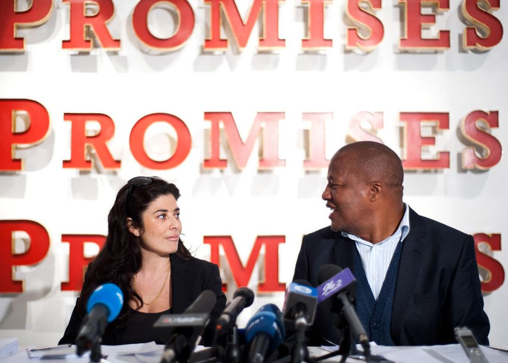 Liza Essers and ANC Spokesperson Jackson Mthembu in 2012. Image: Madelene Cronjé, M&G