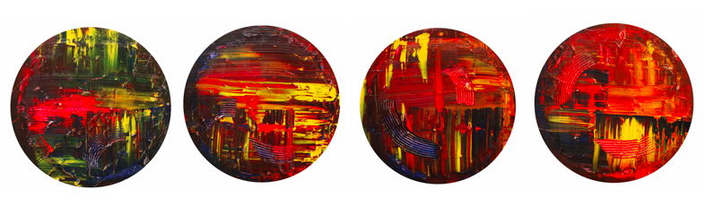 <i>New Concept</i> by Campbell Lak.<div>Oil on Canvas, Four of 50cm Diameter canvas discs, 2016</div>