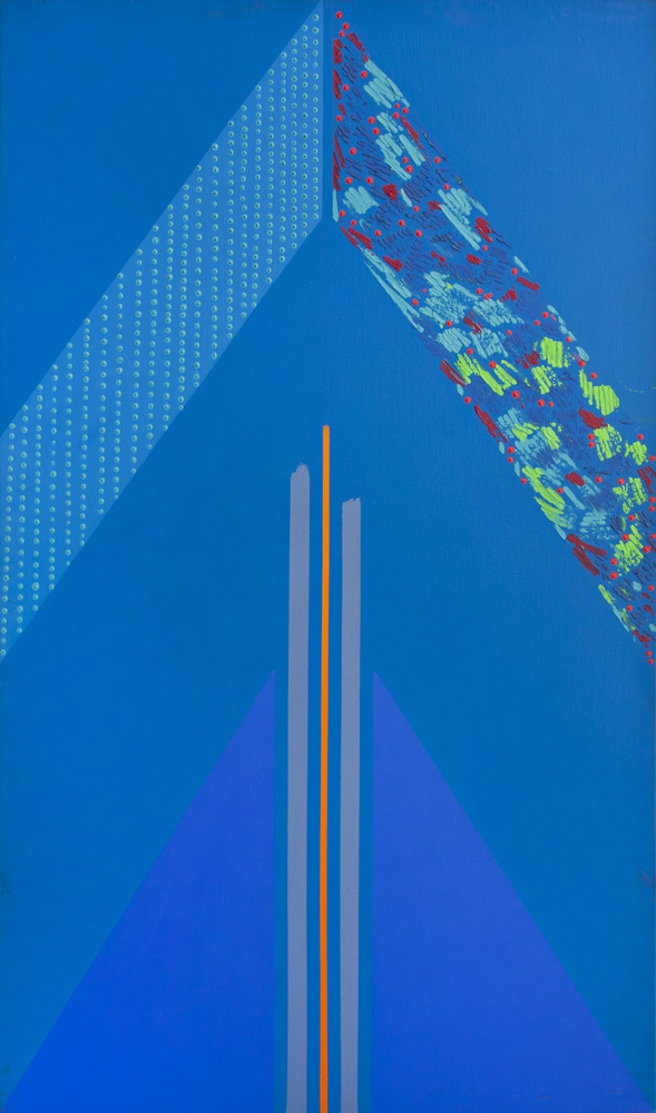 Kevin Atkinson, Blue Triangle, 1966. Acrylic on Canvas, 150-x-92-cm