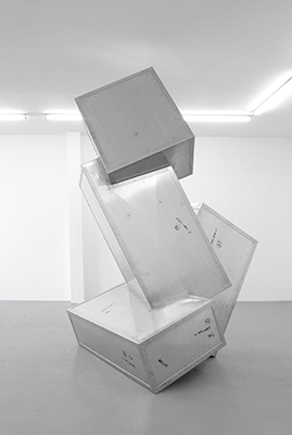 Kyle Morland, Glitch, 2016. Aluminium and rivets; approx. 300 x 204 x 152 cm