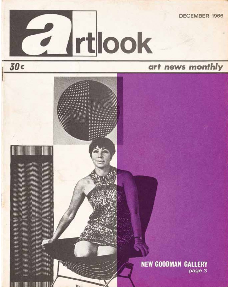 Linda Givon on the cover of Artlook, December 1966. The magazine run a cover story on the new Goodman Gallery. Image: Goodman Gallery