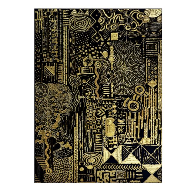 Lina Iris Viktor Constellations III, 2016. Pure 24K Gold, Acrylic, Gouache, Print on Matte Canvas
