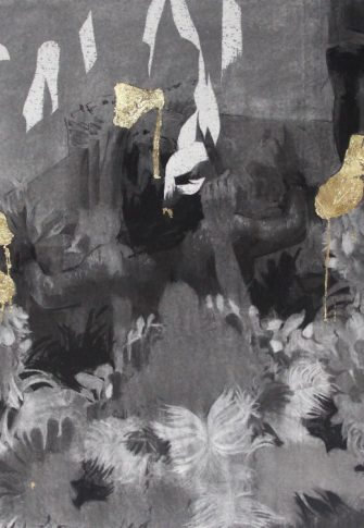 Cosmo Whyte Untitled, 2016. Charcoal and Gold Leaf