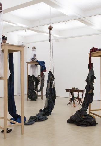 Nicholas Hlobo, Sewing Saw, 2016. Installation view and detail from performance: Stevenson, Cape Town