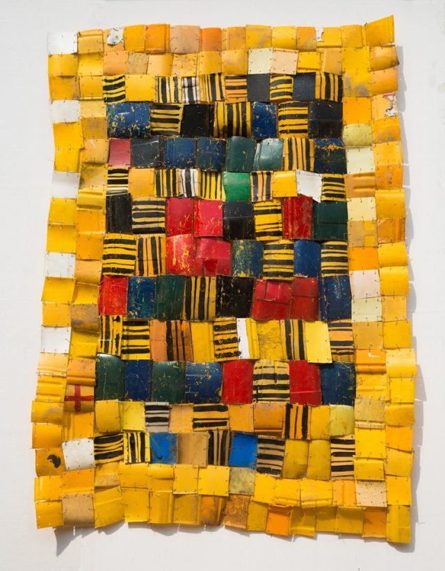 Serge Attukwei Clottey, Self Acquired, 2016. Plastics, wire, and oil paint