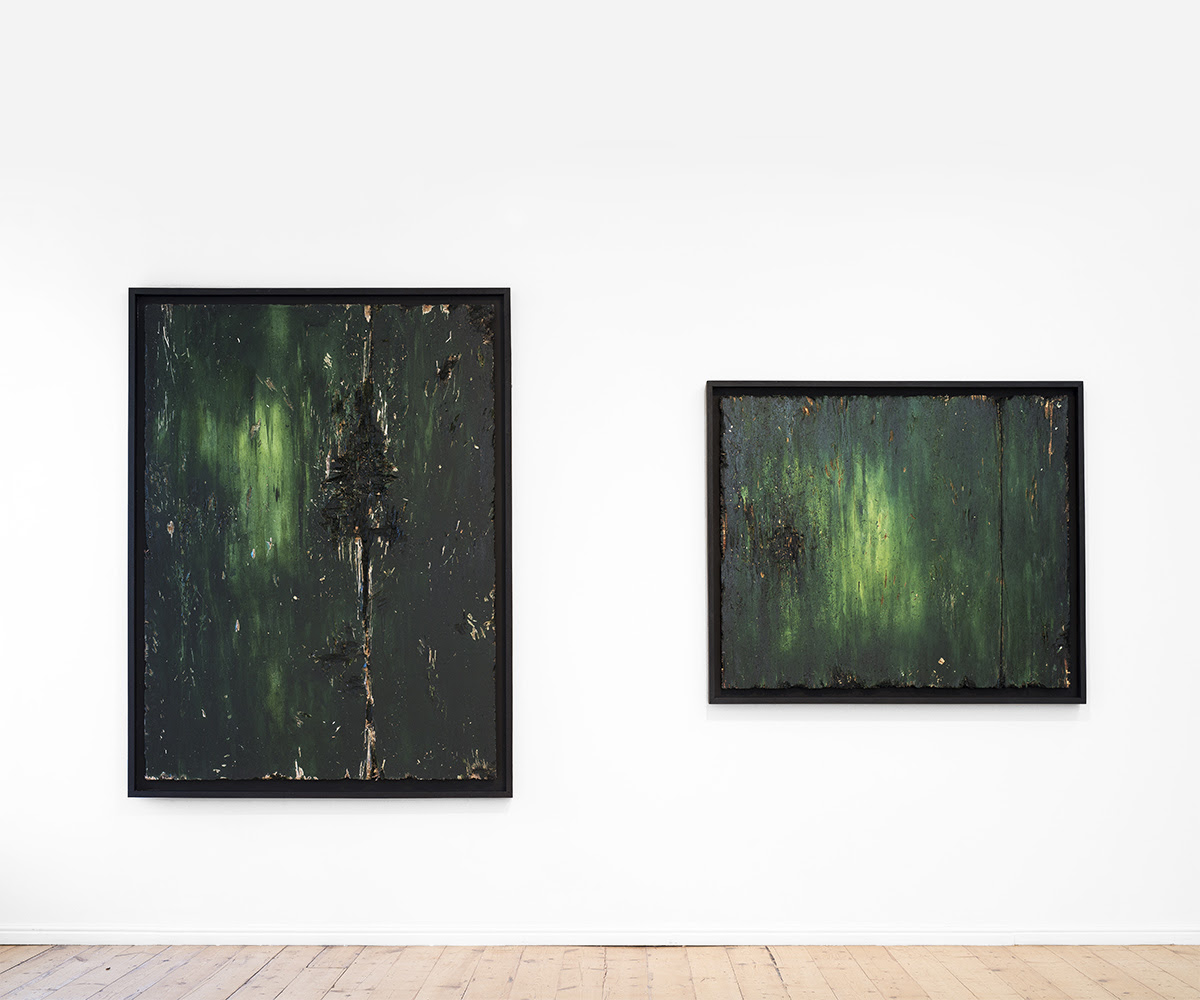 Jake Aikman, (left) <i>Hewn</i>, 2016. Oil on board, 165 x 123 cm and (right) <i>Giving Up The Ghost</i>, 2016, Oil on board, 131 x 112 cm