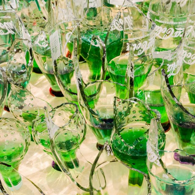 Lungiswa Gqunta Lawn 1 (Detail), 2016. Wood, broken bottles, and petrol