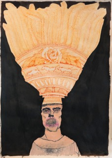 Stephen Allwright, headdress and faint mouth