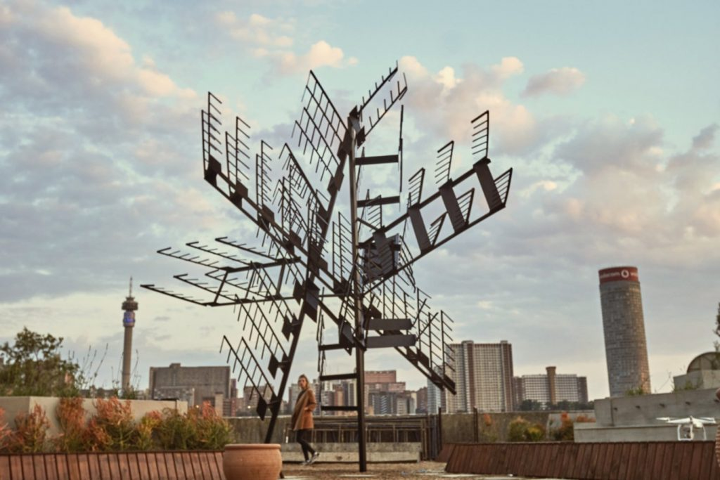 Jake Singer, Roark's Evacuation Plan, 2016. Appropriated staircase, mild steel, 5 x 5 x 6m