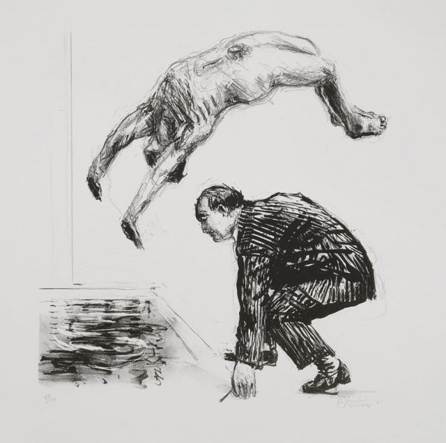 William Kentridge Back Flip, 1991. Lithograph