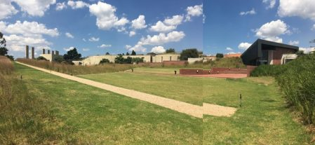 Johannesburg's Apartheid Museum, with the new art gallery jutting into the skyline on the right.