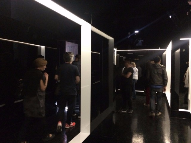 Visitors trying to negotiate the space, which was highly reflective and beautifully constructed.