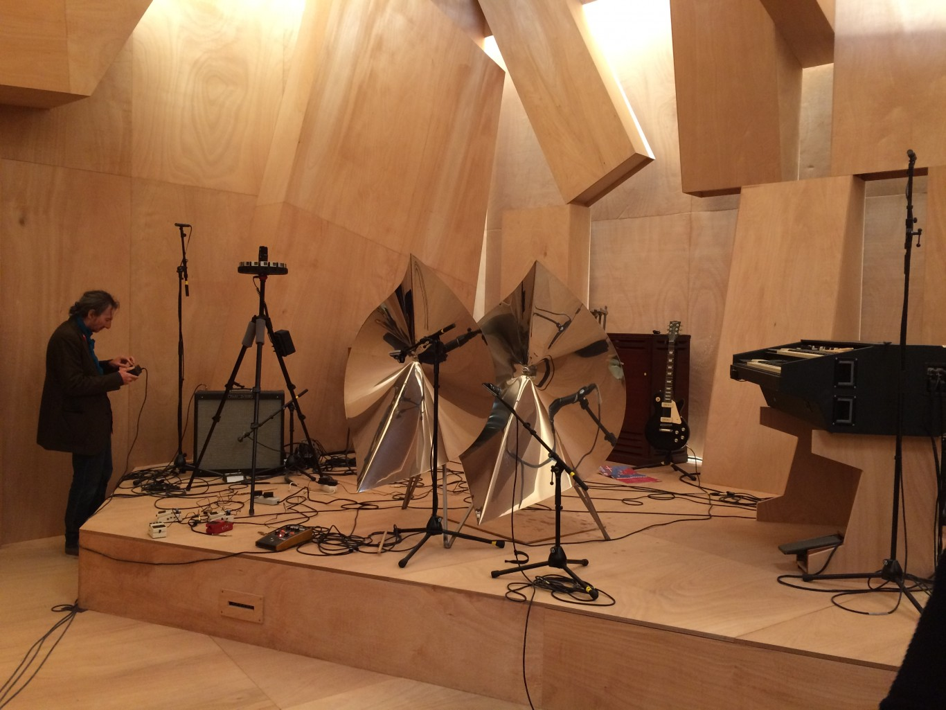 Inside, various instruments and a 360 degree camera wait for the beginnings of that day's performance