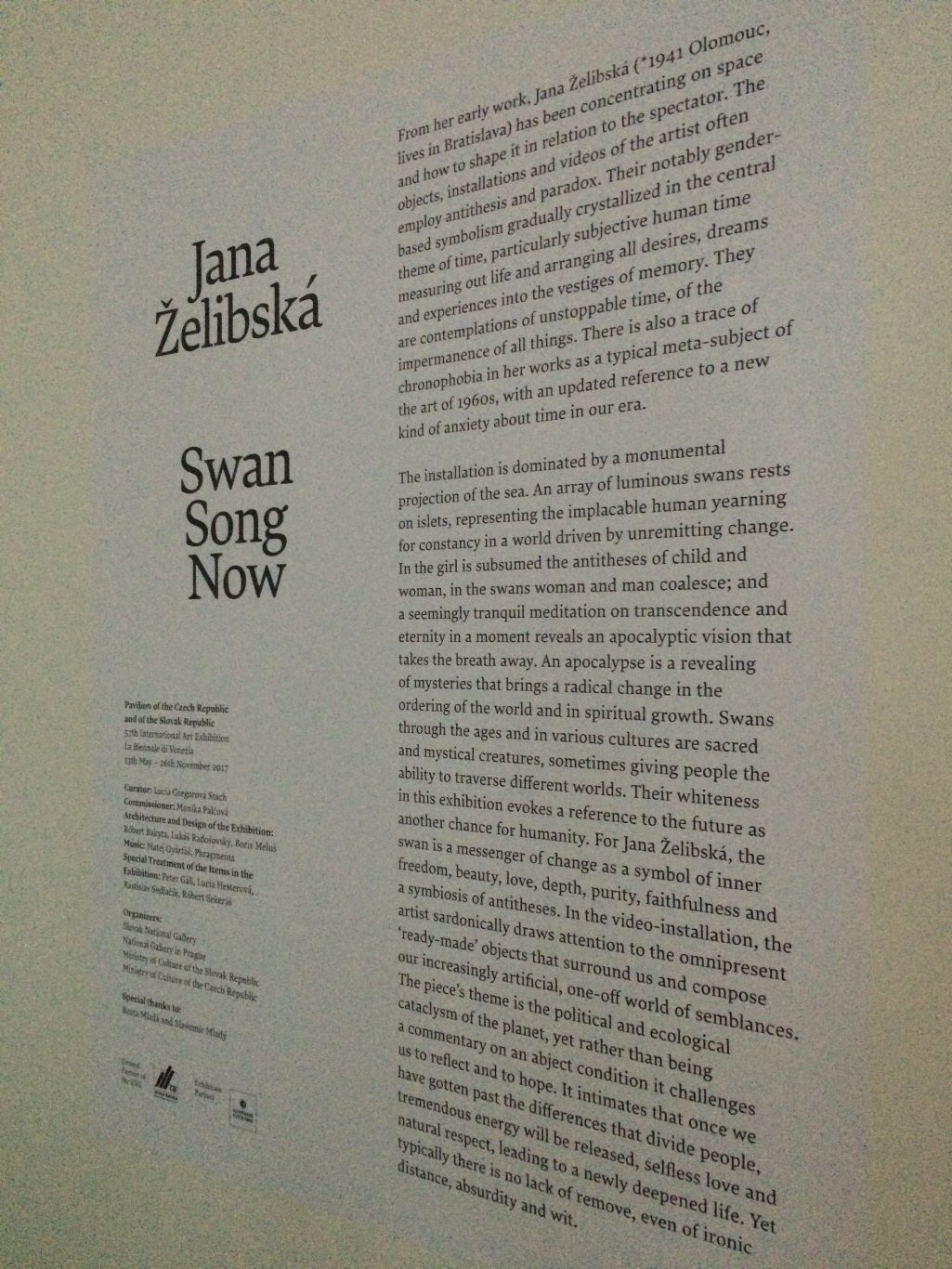 Jana Želibská's multi-media installation at the Czech and Slovak Pavilion.