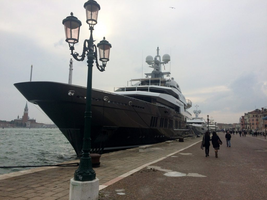 One of the super-yachts lined up on the Riva dei Sette Martiri, on the way to the Giardini.
