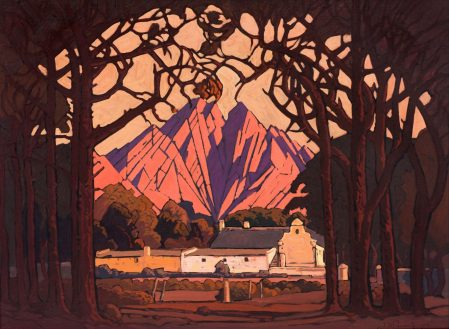 Jacob Hendrik Pierneef, Farm Jonkershoek with Twin Peaks Beyond, Stellenbosch