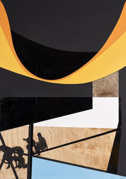 Serge Alain Nitegeka, Ode to Black ll, 2017. Paint on wood, 244 x 172 cm