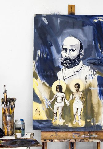 Themba Shibase, The memory of De la Rey being disappeared by the chant of Zulu maidens (studio view), 2017. Oil on canvas, 120 x 80 cm