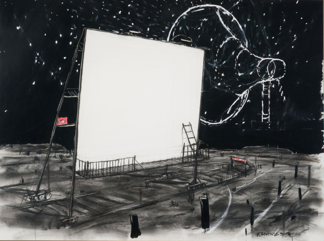 William Joseph Kentridge, <i>Untitled Drawing for Mango Groove Music Video (Drive-In Screen and Megaphone)</i>