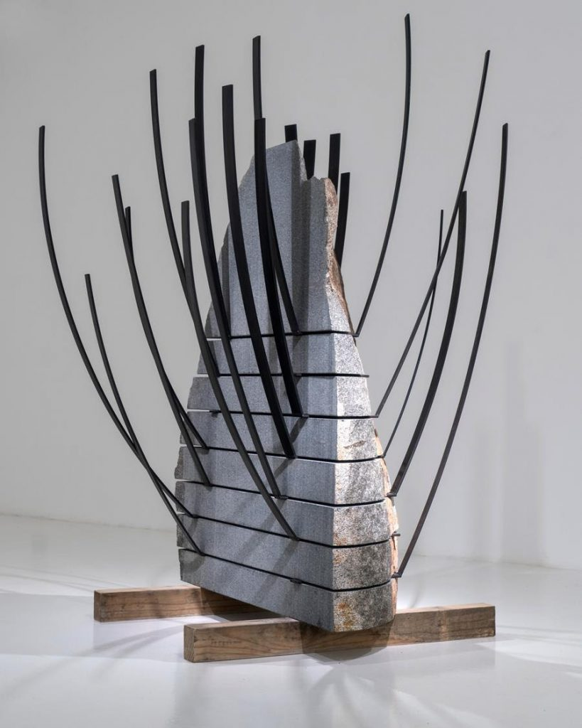 Michele Mathison,Extrusion, 2017. Granite and steel, approx. 203 x 130 x 123 cm