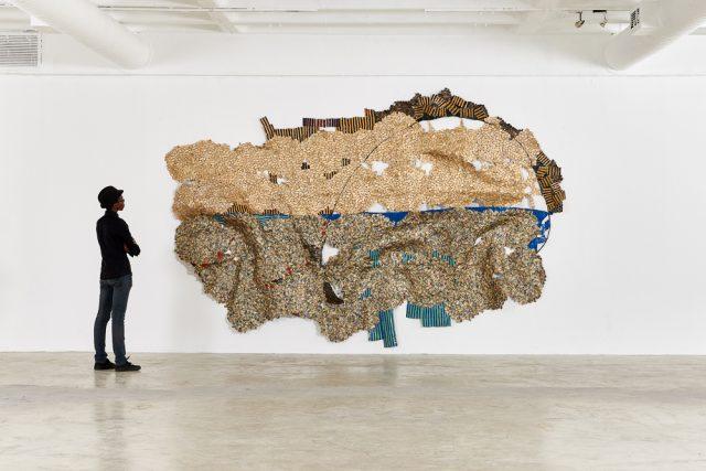 El Anatsui, Horizon,, 2016. Installation View: Goodman Gallery, Johannesburg