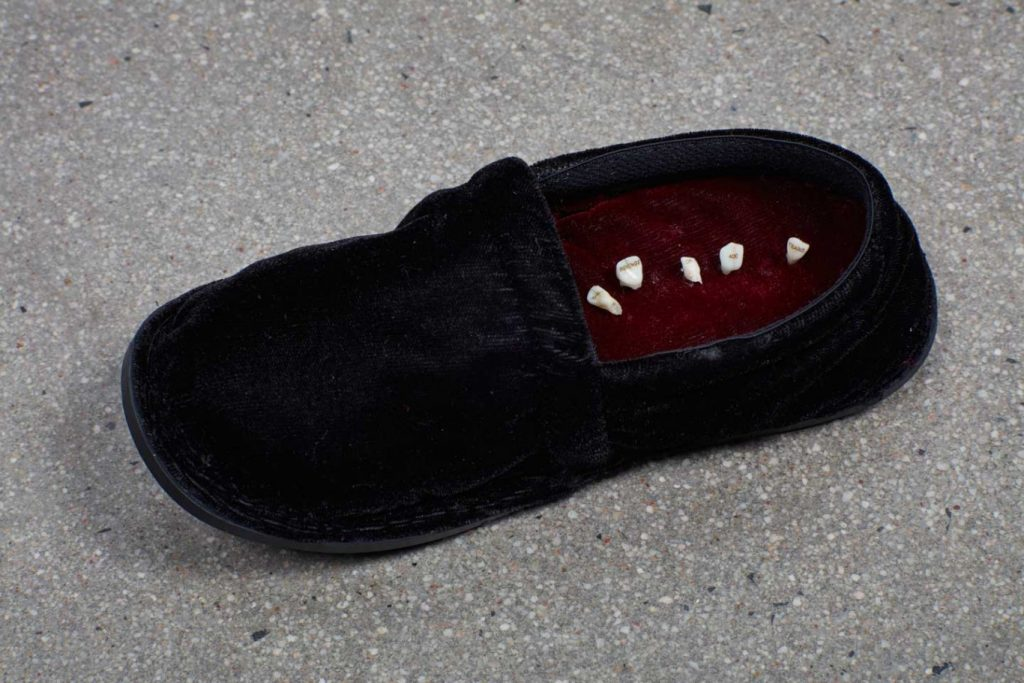 Dan Halter, The Revenge of 400 Years is Losing its Baby Teeth, 2018. Baby teeth, Stokie slipper, mat