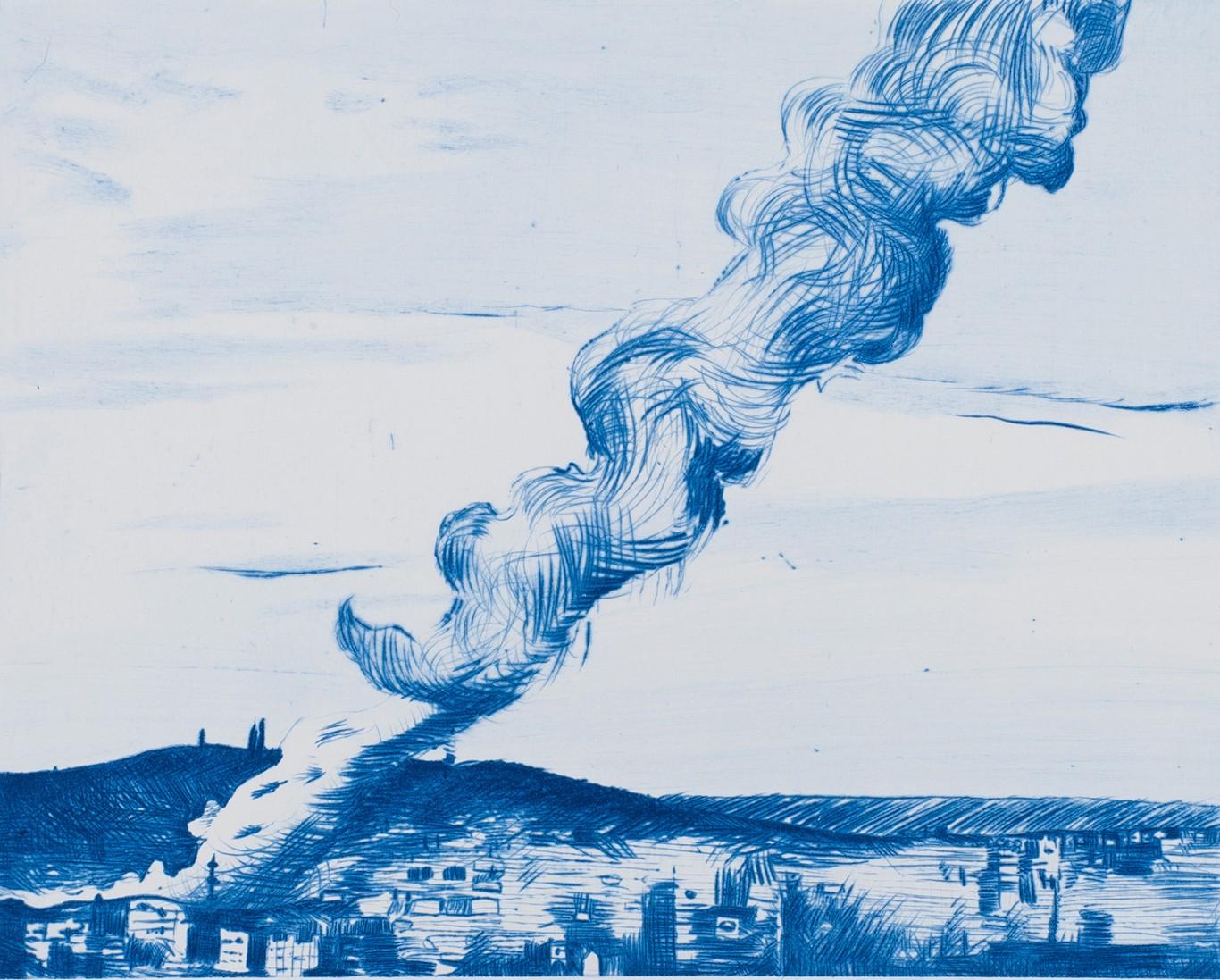 Matthew Hindley, <i>Ruin lust III</i>, 2016. Drypoint, 28 x 33 cm