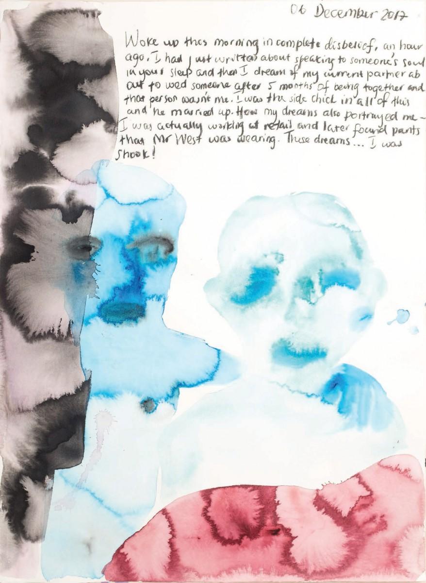 Banele Khoza, <i>He was somebody else's</i>,2017.<br /> Acrylic and ink on Hahnemühle, 107 x 78 cm