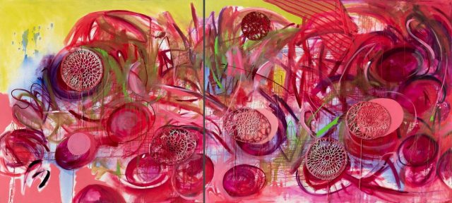Liza Grobler, <i>Cells, Cataracts And Water Lilies (Diptych)</i>, 2019.